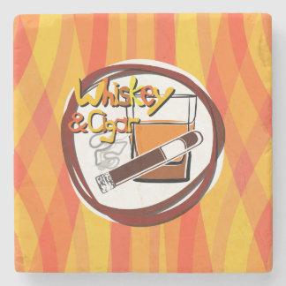 Illustration Wiskey and Cigar Stone Beverage Coaster