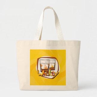 Illustration Wiskey on Ice Large Tote Bag