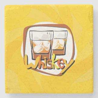 Illustration Wiskey on Ice Stone Coaster