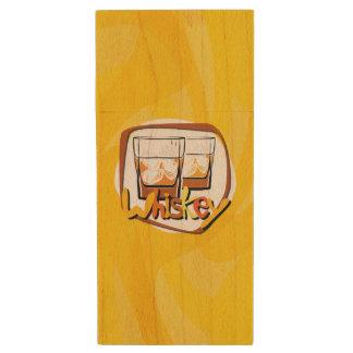 Illustration Wiskey on Ice Wood USB 2.0 Flash Drive