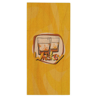 Illustration Wiskey on Ice Wood USB 3.0 Flash Drive