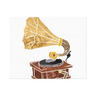 illustration with gramophone canvas print
