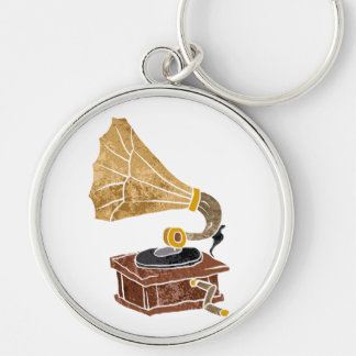 illustration with gramophone Silver-Colored round keychain