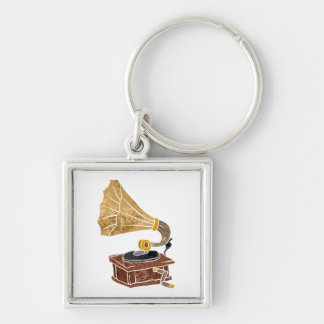 illustration with gramophone Silver-Colored square keychain