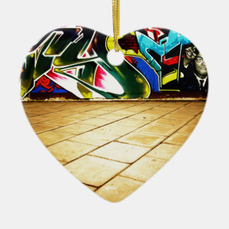 illustration with high detail and vibrant colors ceramic heart ornament