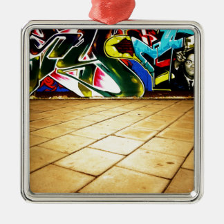 illustration with high detail and vibrant colors Silver-Colored square ornament