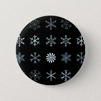 Illustrations of Snowflakes (black) 2 Inch Round Button