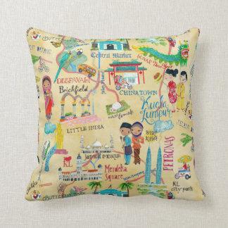 Illustrative Map Kuala Lumpur Cotton Throw Pillow