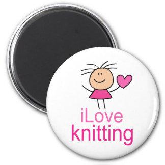 iLove Knitting Gift 2 Inch Round Magnet