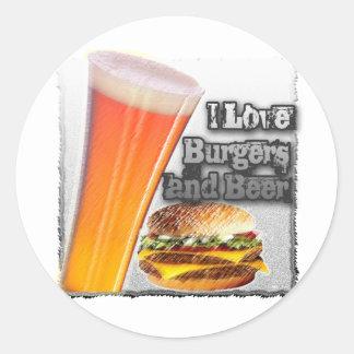 ILoveBurgersandBeer Tall One Round Sticker