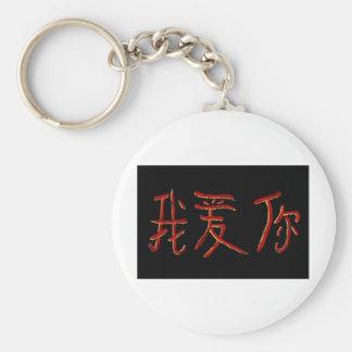 iloveu chinese character basic round button keychain