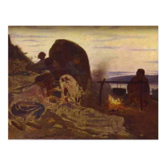 Ilya Repin- Barge Haulers by Campfire Postcard