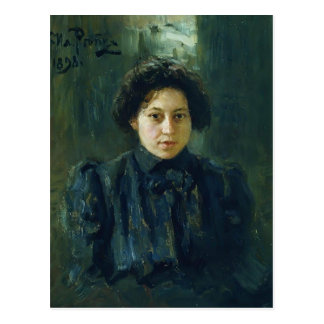 Ilya Repin- Portrait of artist daughter Nadezhda Postcard