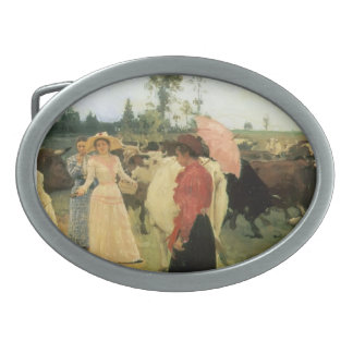 Ilya Repin- Young ladys walk among herd of cow Oval Belt Buckle
