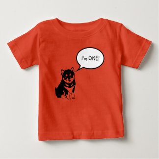I'm 1 Dog Speech Bubble 2 Orange Baby Tee