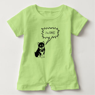 I'm 1 Dog Speech Bubble green Baby Romper
