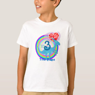 I'm 3 - 3rd Birthday Blue Dinosaur Name T-Shirt