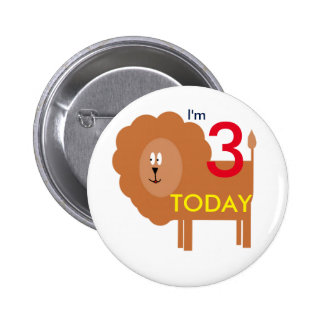 I'M 3 TODAY lion badge 2 Inch Round Button