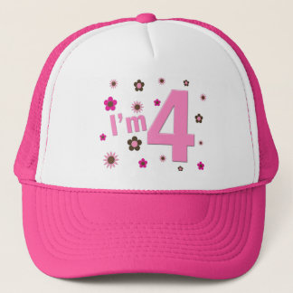 I'm 4 Pink & Brown Flowers Trucker Hat