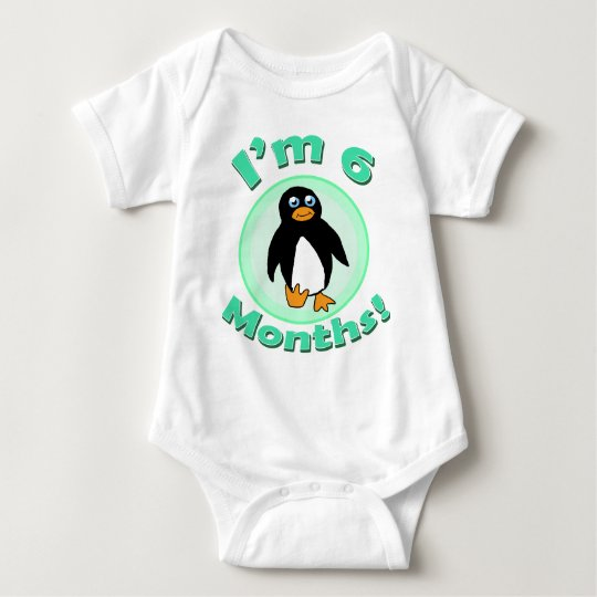 I'm 6 Months penguin baby clothes Baby Bodysuit