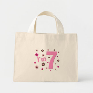 I'm 7 Pink And Brown Flowers Mini Tote Bag