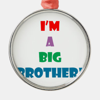 I'm a big brother text Silver-Colored round ornament