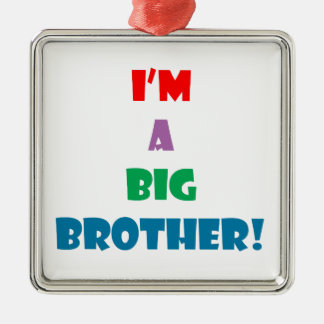 I'm a big brother text Silver-Colored square ornament