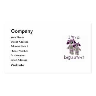 I'm a big sister (purple puppies) business card templates