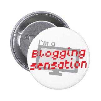 I'm a blogging SENSATION with digital computer scr 2 Inch Round Button