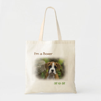 I'm a Boxer Mom Puppy Dog White Tote Bag Totebag