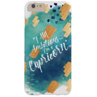 """""""I'm a Capricorn"""" Zodiac Teal & Gold Watercolour Barely There iPhone 6 Plus Case"""