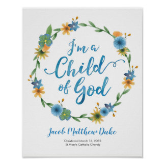 I'm a child of God personalized Baptism print