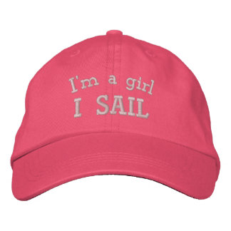 I'm a Girl I Sail Embroidered Pink Hat Embroidered Baseball Cap