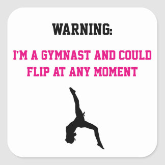 I'm a Gymnast Magenta Gymnastics Fun Quote Flip Square Sticker