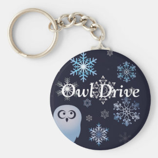 I'm A Hoot Snowy Owl Christmas Owl Blue Keychain