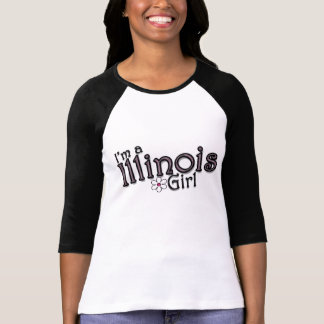 I'm a Illinois Girl, Flower, Pink & Black T-Shirt