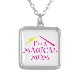 I'm a MAGICAL Mom! with wizard wand Silver Plated Necklace