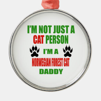 I'm a Norwegian Forest Cat Daddy Silver-Colored Round Ornament