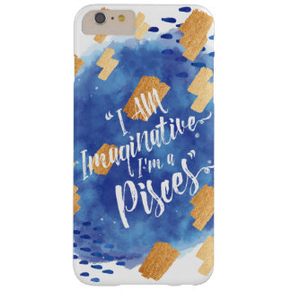 """""""I'm a Pisces"""" Zodiac Blue & Gold Watercolour Barely There iPhone 6 Plus Case"""