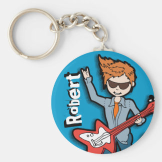 """I'm a Rockstar"" blue graphic named keychain"