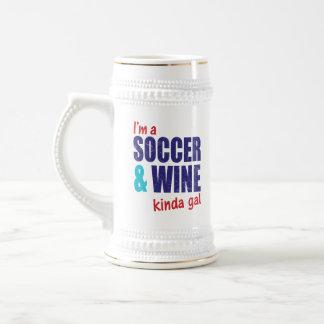 I'm A Soccer & Wine Kinda Gal 18 Oz Beer Stein