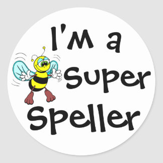 I'm A Super Speller Round Sticker