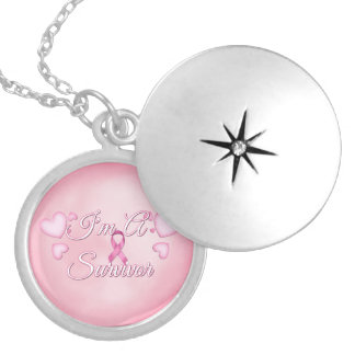 """I'm A Survivor"" Breast Cancer Silver Locket"