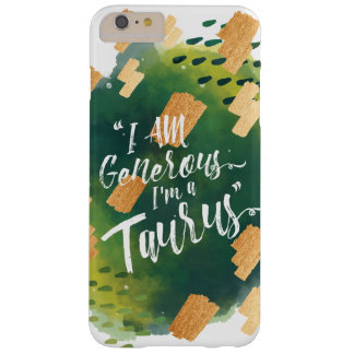 """""""I'm a Taurus"""" Zodiac Green & Gold Watercolour Barely There iPhone 6 Plus Case"""
