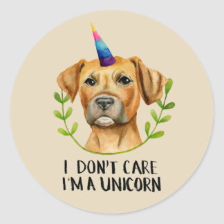 """I'M A UNICORN"" Pit Bull Dog Illustration Classic Round Sticker"