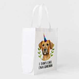 """I'M A UNICORN"" Pit Bull Dog Illustration Reusable Grocery Bag"