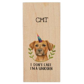 """""""I'M A UNICORN"""" Pit Bull Dog Illustration Wood USB Flash Drive"""