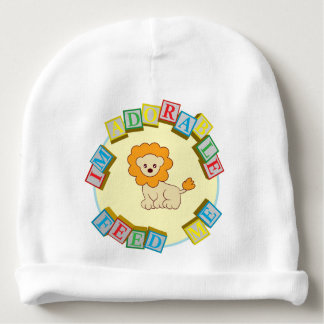 I'm Adorable Feed Me! Lion Doodle Noodle Designs Baby Beanie