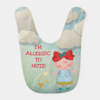 I'm Allergic Dairy Red Hair Girl Blue Sky Clouds Bibs