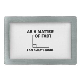 I'm always right rectangular belt buckle